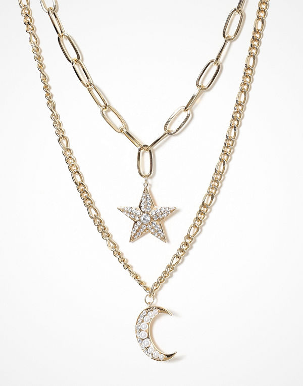 Freedom by Topshop halsband Moon & Stars Pearl Necklace
