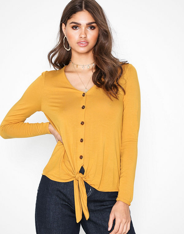 New Look V Neck Button Tie Front T