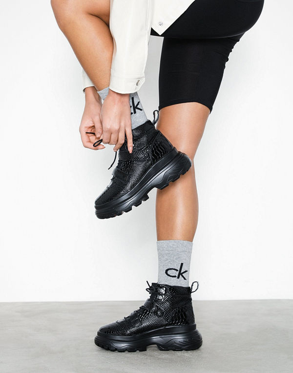 Missguided Double Sole Hiking Strap Trainer Black