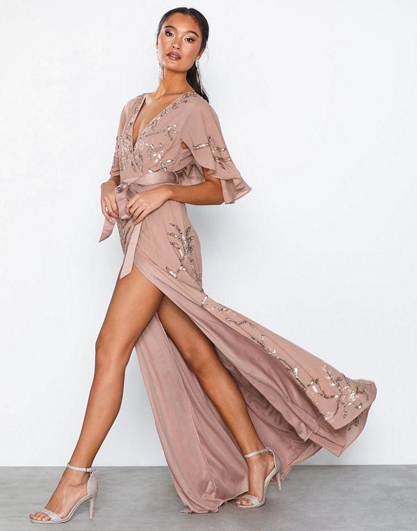 Maya Embellished Wrap Maxi Dress With Flutter Sleeve