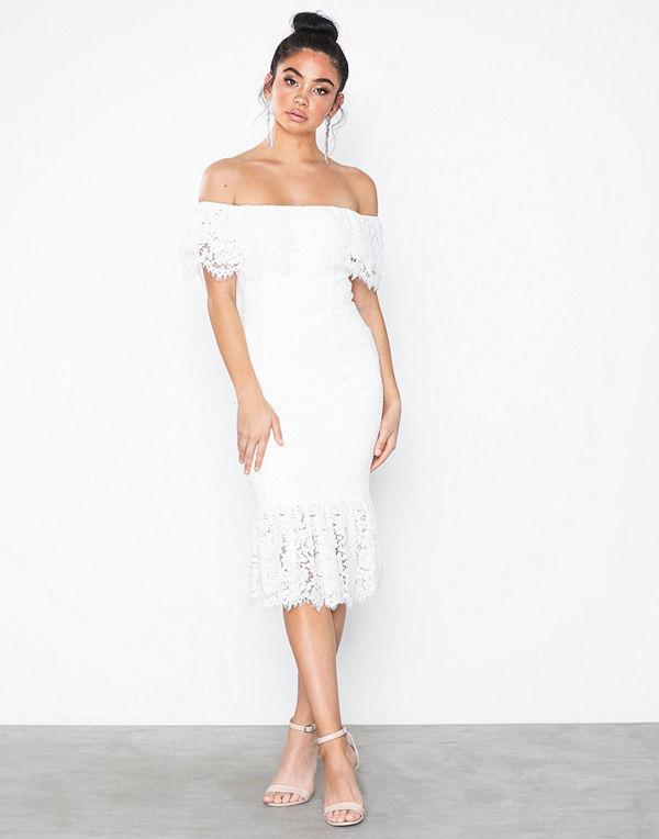 Rare London Off The Shoulder Lace Midi Dress