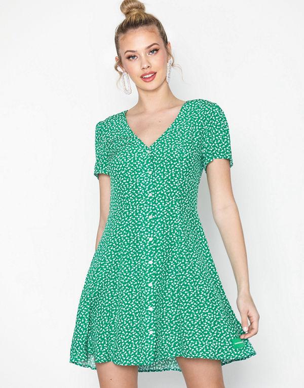 Calvin Klein Jeans Ss Button V Neck Flared Dress