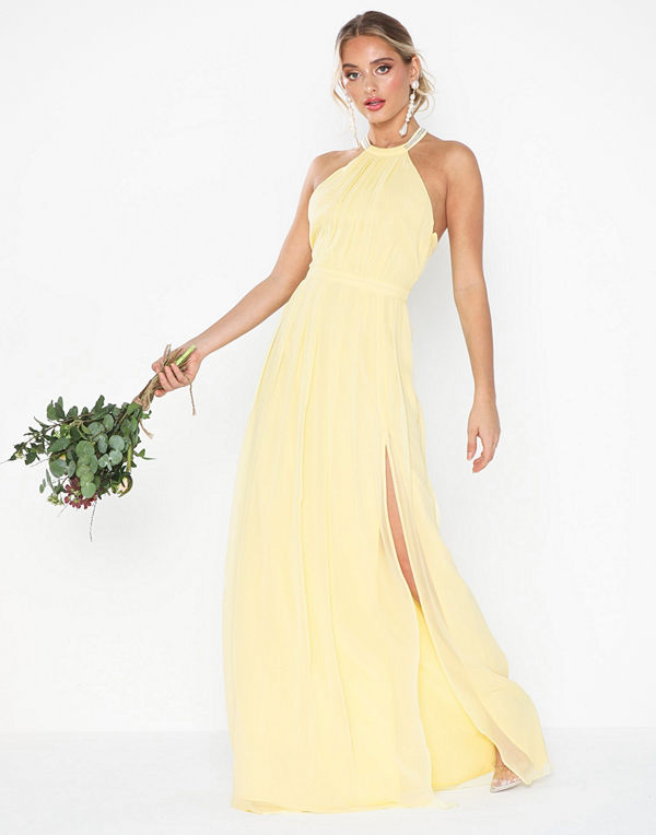 NLY Eve Halterneck Beaded Gown Ljus Gul