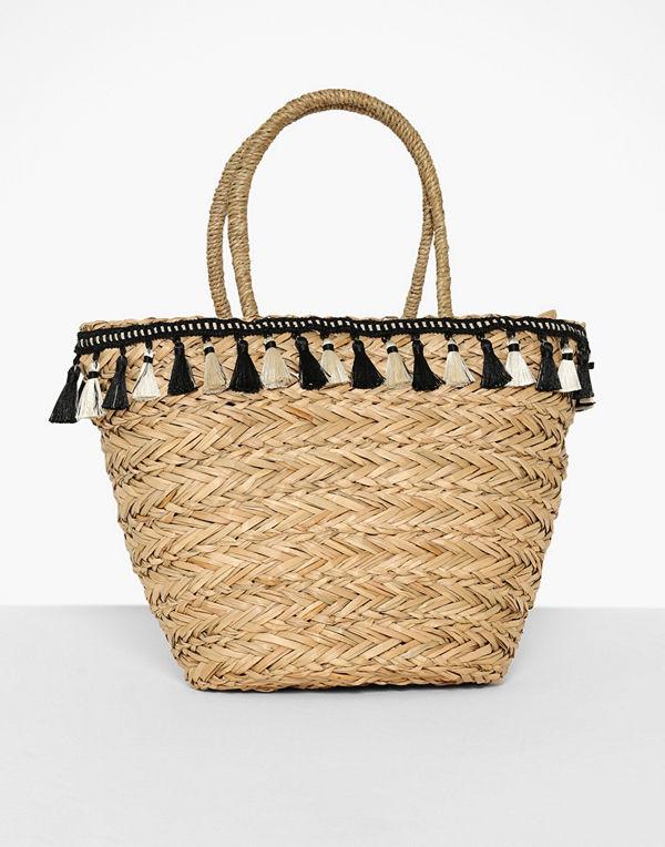 Missguided Tassel Trim Woven Beach Bag