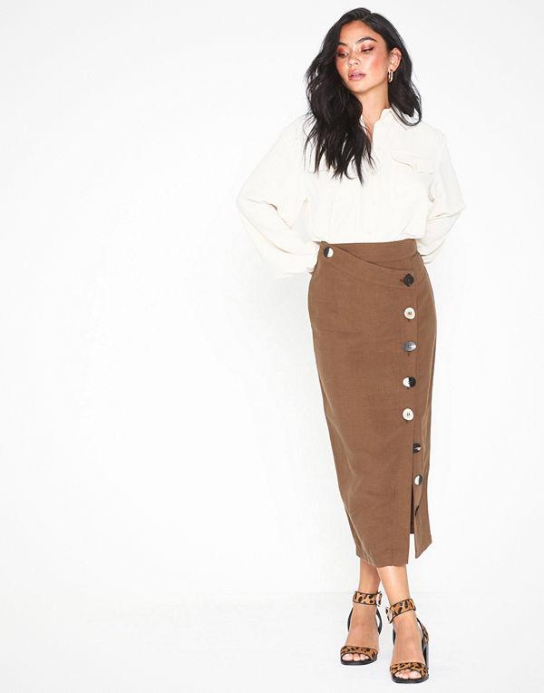 Topshop Brown Mixed Button Pencil Skirt