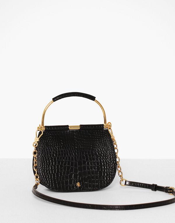 Lauren Ralph Lauren svart axelväska Mini Croc Embross Mason 20 Stl Min