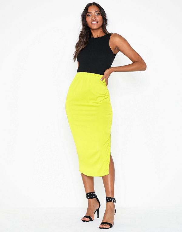 Missguided Stretch Satin Midi Skirt