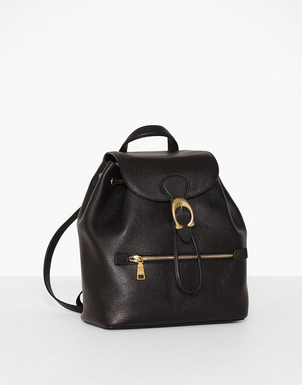 Coach svart ryggsäck Polished Pebble Leather Evie Backpack