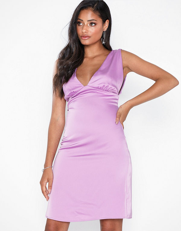 NLY Eve Deep Plunge Satin Dress