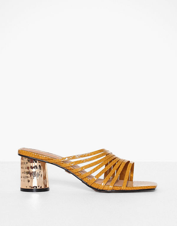 Topshop Mustard Strappy Mules