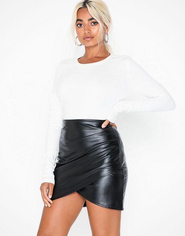 NLY One Leather Look Wrapped Skirt