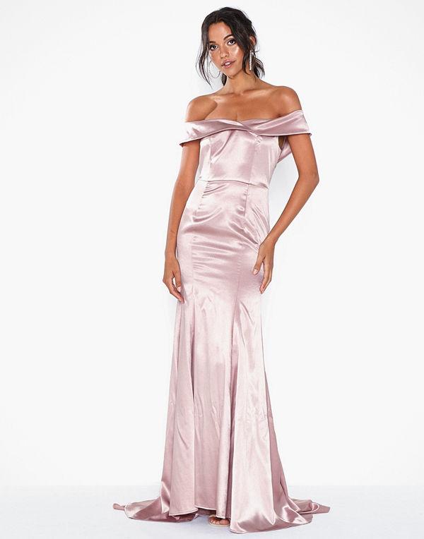 Dolly & Delicious Bardot Satin Maxi Dress with Train