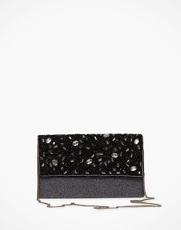 Glamorous svart kuvertväska Black Shimmering Wristlet