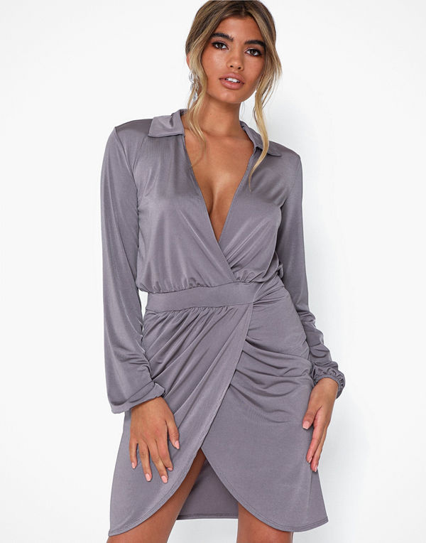 NLY One Wrap Skirt Collar Dress