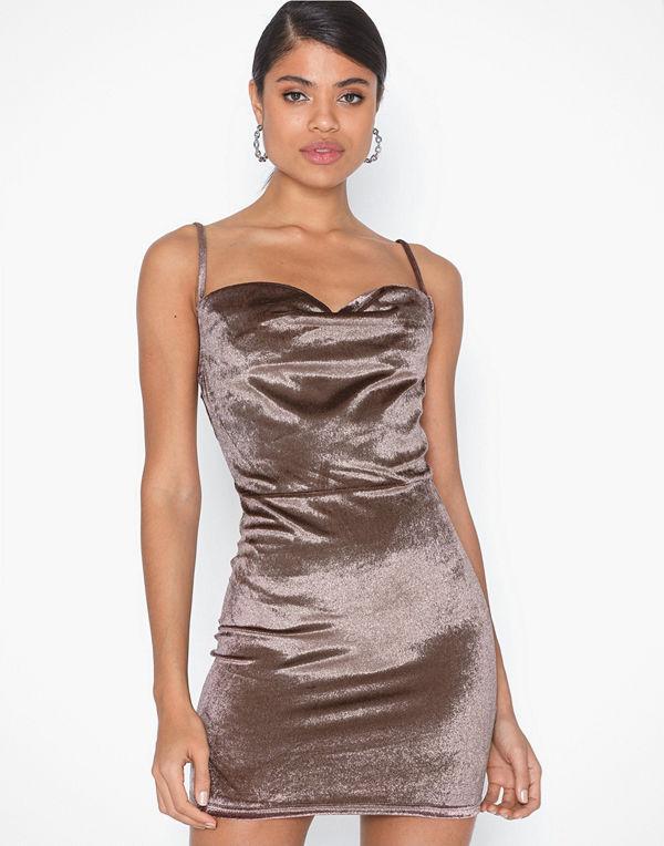Parisian Velvet Cowl Neck Mini Dress