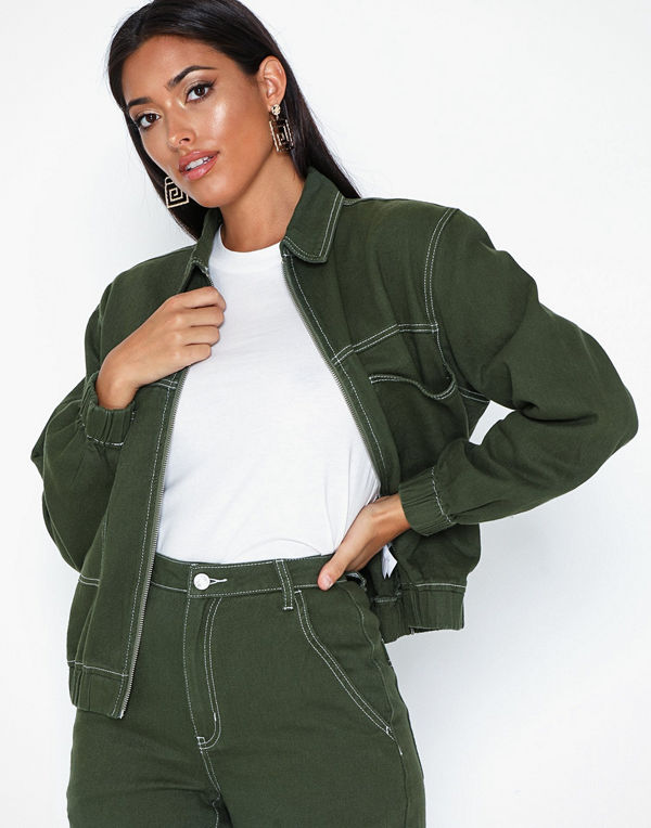 Missguided Zip Through Denim Jacket Co Ord
