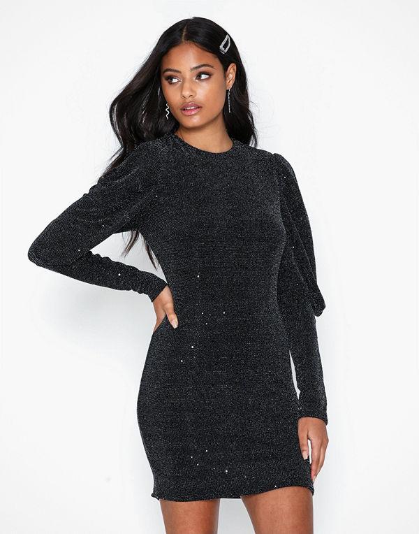 Ax Paris Puffy Sleeve Glitter Mini Dress