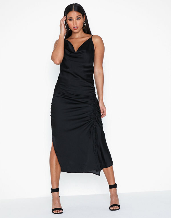 Ax Paris Strap Satin Rouched Dress