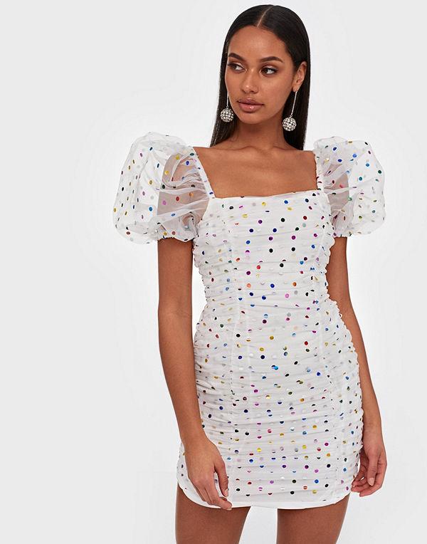 Glamorous Puffy Sleeve Organza Dot Dress