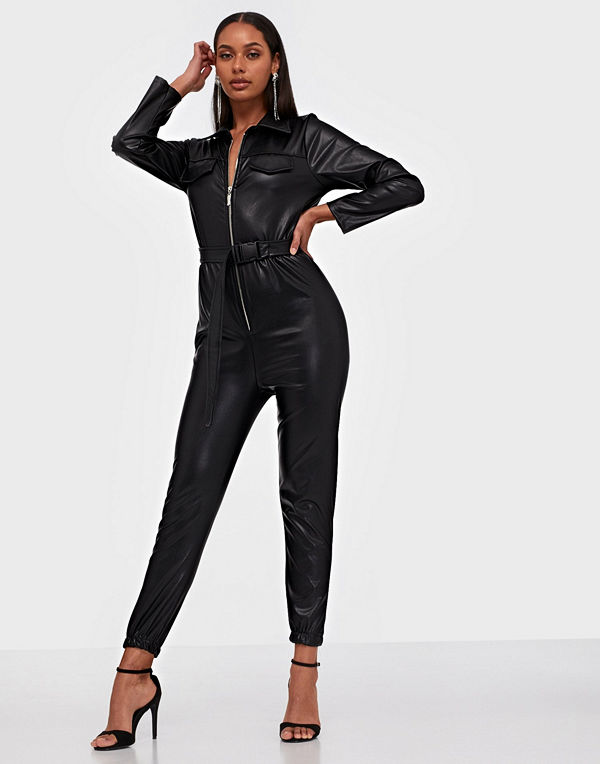 Parisian PU Zip Front Belted Jumpsuit