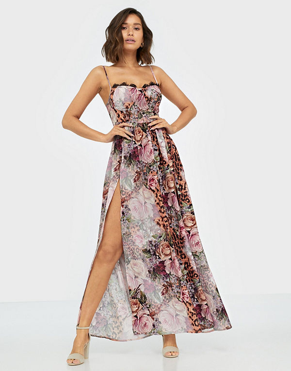 Missguided Floral Leopard Cupped Maxi Dress