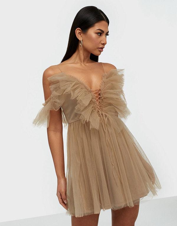 Parisian Sheer Mesh Cold Shoulder Ruffle Dress