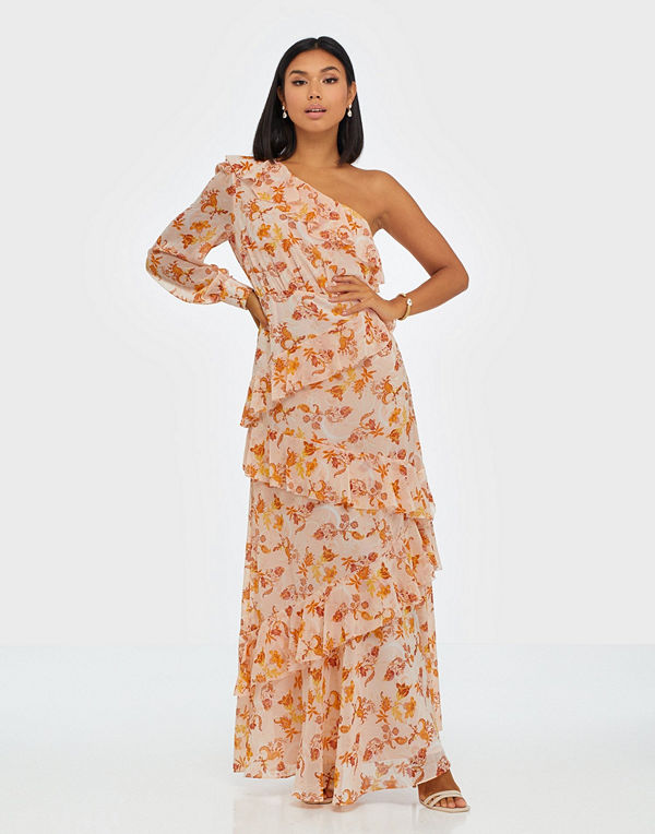 True Decadence One Sleeve Maxi Flower Dress