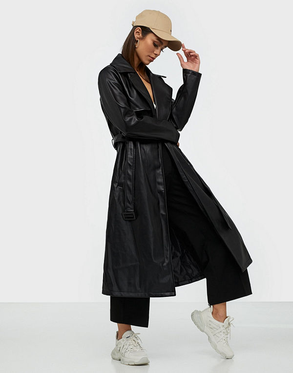Missguided PU Trench Coat