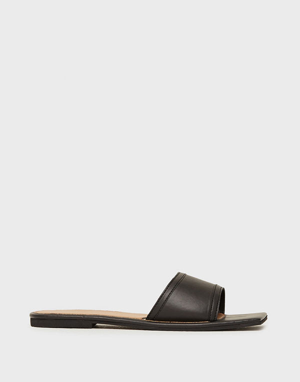 Missguided Square Toe Simple Strap Flat Sandal