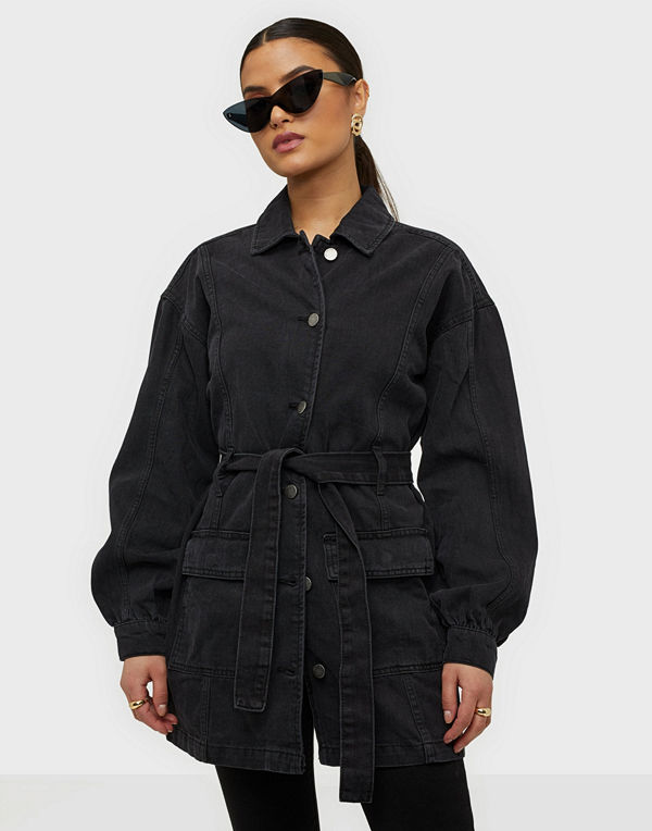 Jacqueline de Yong Jdysansa Belted Denim Jacket Blk Dn