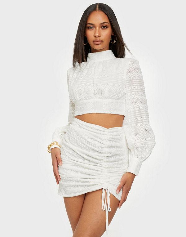 Rare London Broderie Drawstring Mini Skirt