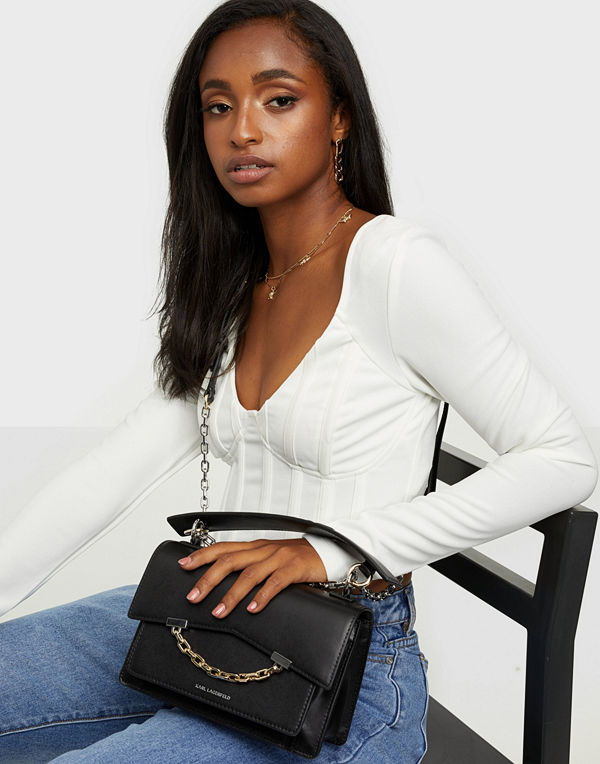 Karl Lagerfeld svart väska K/Signature Small Shoulderbag