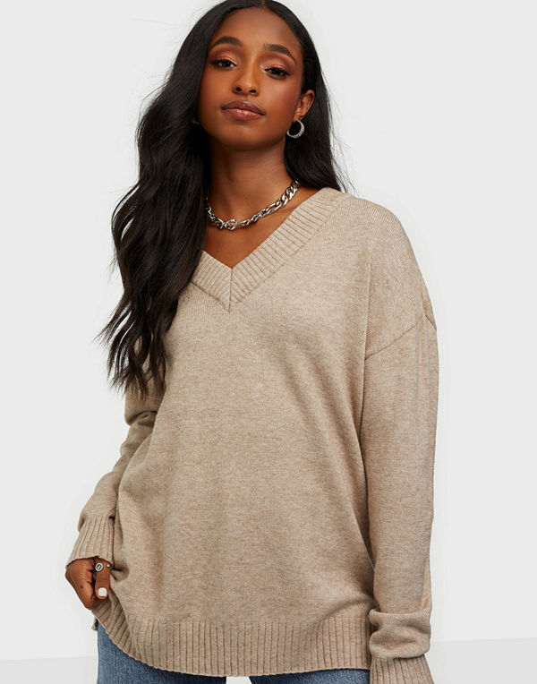 Vila VIRIL OVERSIZE V-NECK KNIT TOP - FA
