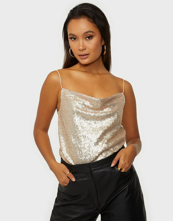 NLY Trend Draped Sequin Top