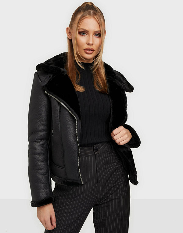 Missguided Faux Fur Aviator Jacket