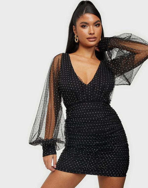 Rare London Diamante Plunge Dress