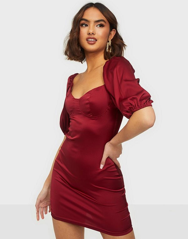 Parisian Puff Sleeve Satin Mini Dress