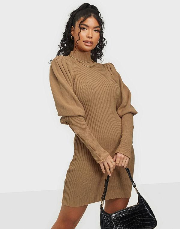 Parisian Blouson Sleeve Knitted Rib Mini Dress