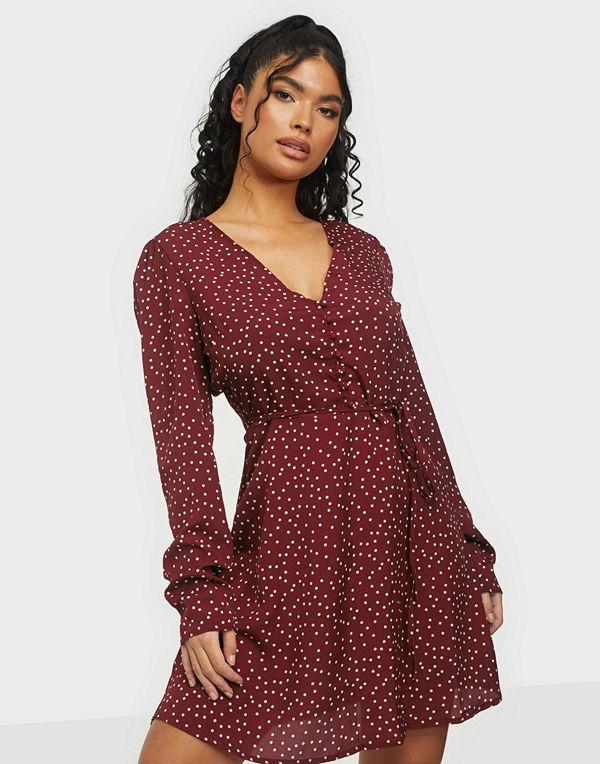 Missguided Half Button Tea Dress Polka