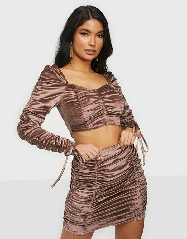 Parisian Rouch Velvet Top & Skirt
