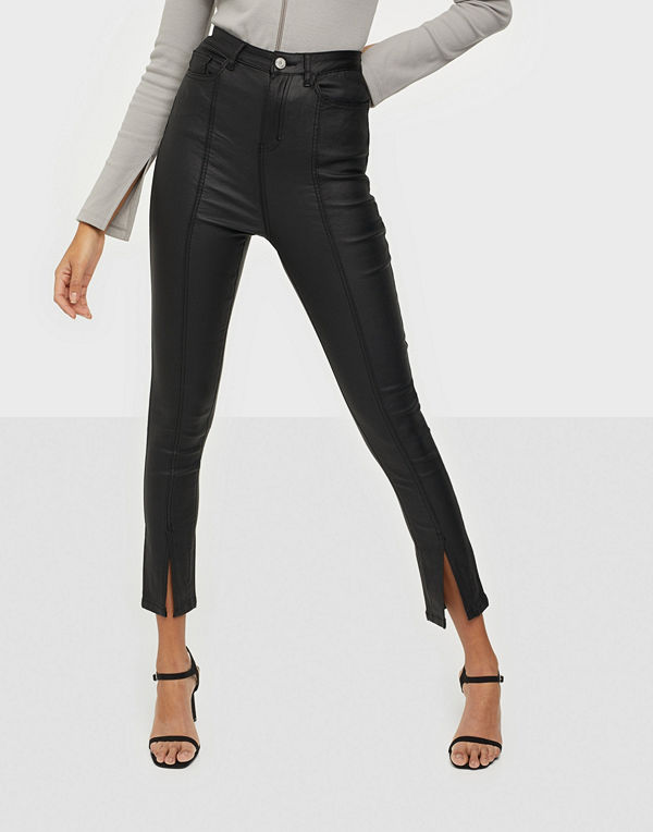 Missguided Split Front Coated Skinny Jeans