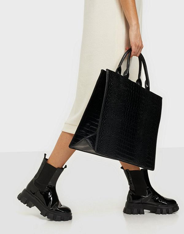Missguided svart väska Croc Tote Bag