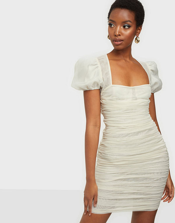 Missguided Mesh Puff Sleeve Mini Dress