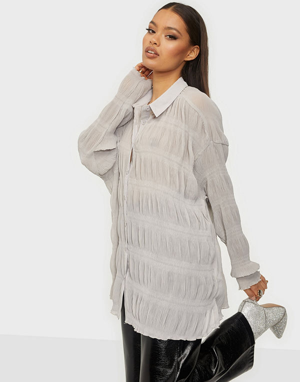 Missguided Sheer Crinkle Extreme Oversized Shirt