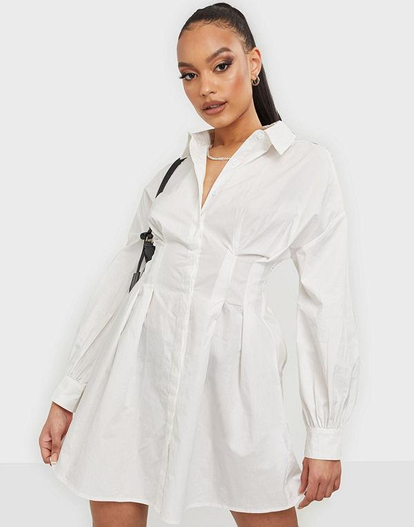 Missguided Poplin Pleated Waist Shirt Dress