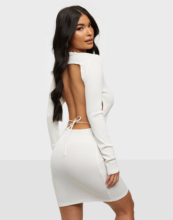 Missguided Crew Neck Open Tie Back Mini Dress