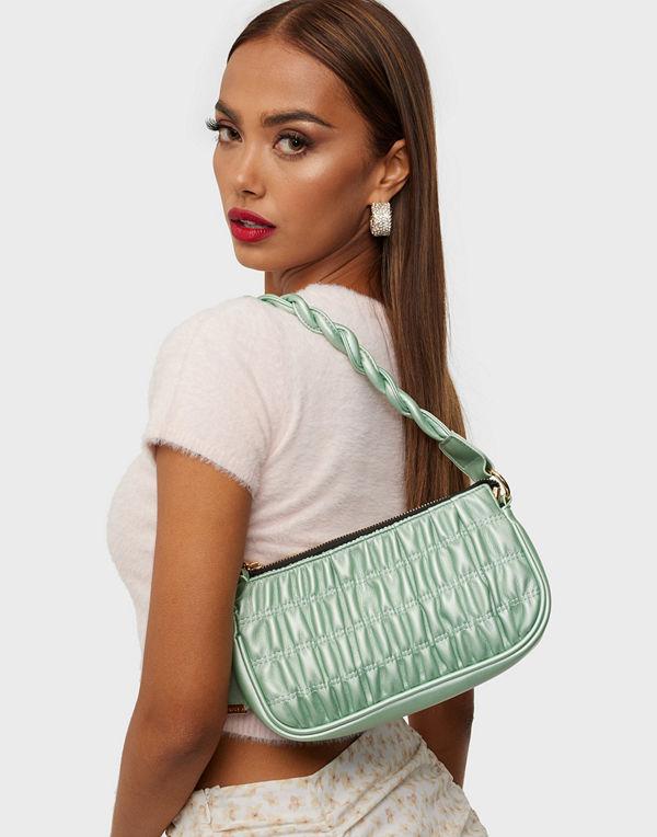 Glamorous omönstrad väska Ruched Shoulder Bag With Twisted Strap Detail