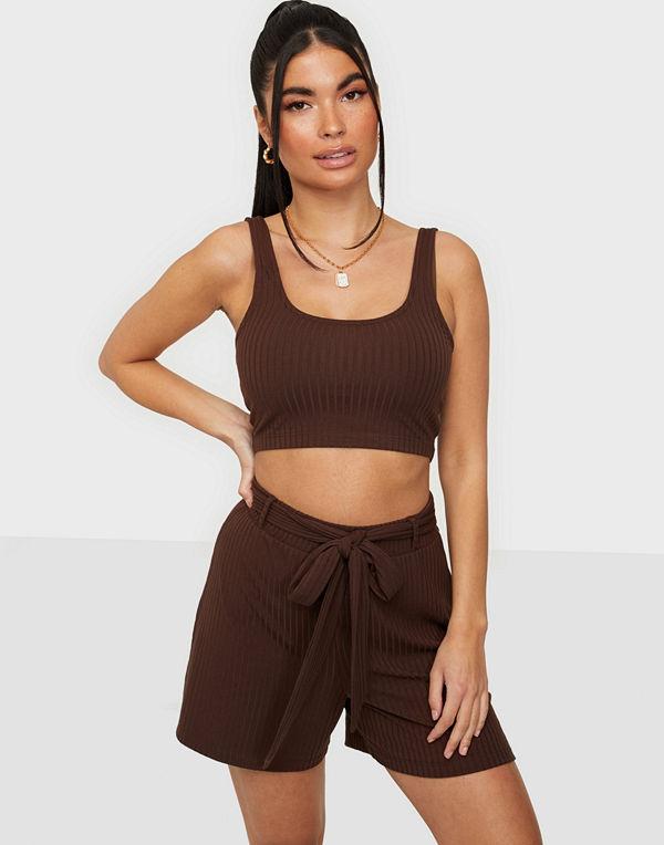 NLY Trend Rib Tie Shorts Set