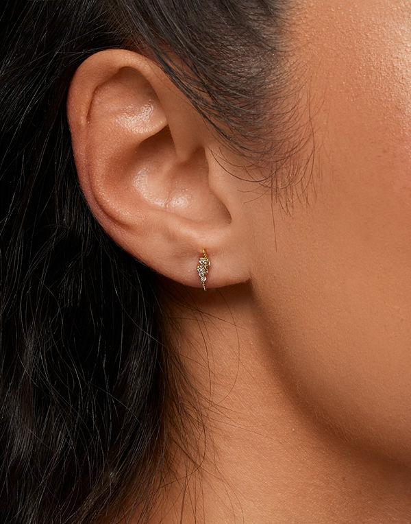 Muli Collection smycke Golden Zirconia Flash Stud - Pair