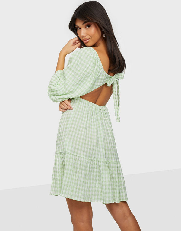 NLY Trend Open Back Check Dress